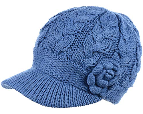 BYOS Womens Winter Chic Cable Warm Fleece Lined Crochet Knit Hat W/Visor Newsboy Cabbie Cap