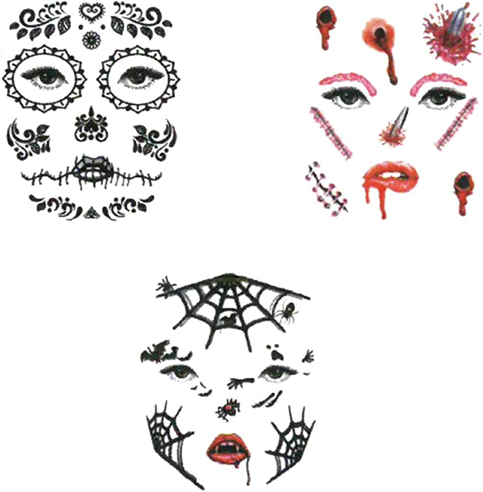 Beaupretty 6 Sheets Halloween Facial Stickers Face Waterproof Face Temporary Tattoos Decorative Sticker for Halloween Costume Masquerade Accessories