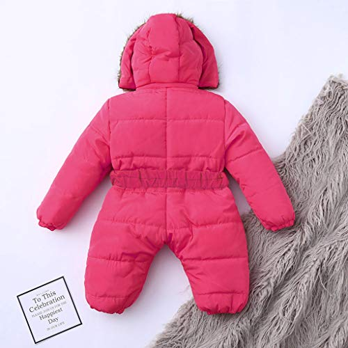 Shan-S Infant Toddler Newborn Baby Boy Girl Long Sleeved Solid Color Winter Fleece Jumpsuit Hooded Romper Thick Warm Coat Outwear 0-24 Months