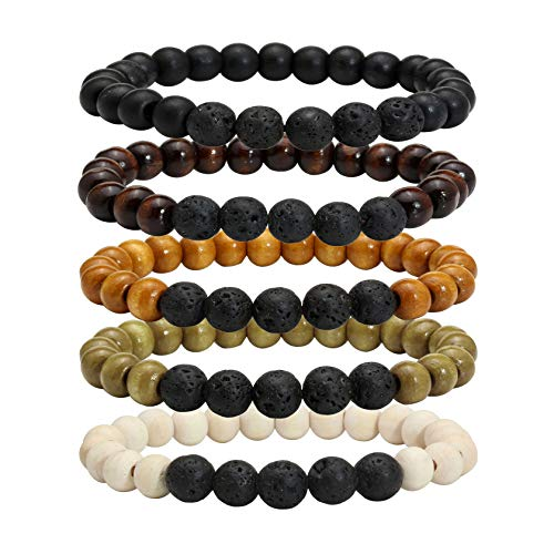 MILAKOO 5 Pcs Lava Rock Stone Essential Oil Diffusser Bracelet Men Women Wooden Beads Bracelet
