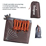 Unigear Hammock Rain Fly Waterproof Tent Tarp Camping Backpacking Tarp Shelter, Lightweight for Survival Gear, 6 Stakes and Ropes Included