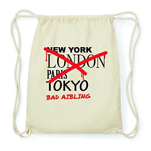 JOllify BAD AIBLING Hipster Turnbeutel Tasche Rucksack aus Baumwolle - Farbe: natur Design: Grafitti