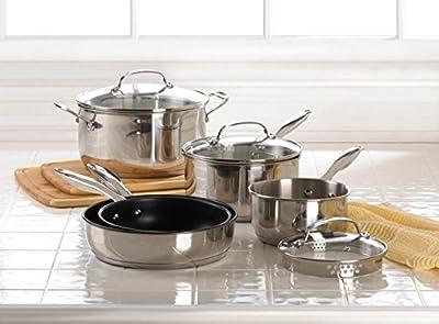 Home Kitchen Stainless Steel Cookware Set Restaurant Best Specialty Healthy Cookware Cast Iron Skillet Pot Sauce Pan W/ Lid Aluminum Craft (Set of 8)
