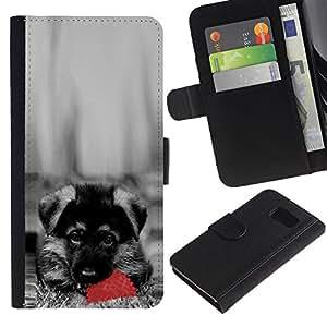 LASTONE PHONE CASE / Lujo Billetera de Cuero Caso del tirón Titular de la tarjeta Flip Carcasa Funda para Samsung Galaxy S6 SM-G920 / Cute Dog German Sheppard Puppy
