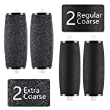 Pedicure Rollers Replacement, BIG HOUSE Waterproof Extra Refill Roller Heads Compatible with Amope Pedi Perfect Electronic Pedicure Foot File (2 Extra Coarse & 2 Regular Coarse)