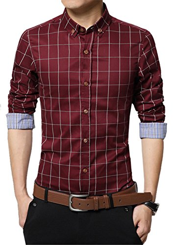(XTAPAN Men Slim Fit Plaid Flannel Fashion Dress Shirt Long Sleeve Wine Red 4XL)