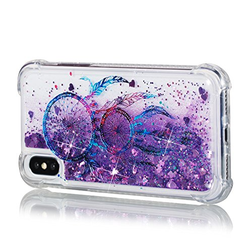 iPhone X Case, AS-Zeke Liquid Quicksand Bling Sparkle Design Crystal Clear Transparent Soft Flexible TPU Redouble Shockproof Full Protective Cover for iPhone X - Campanula Purple