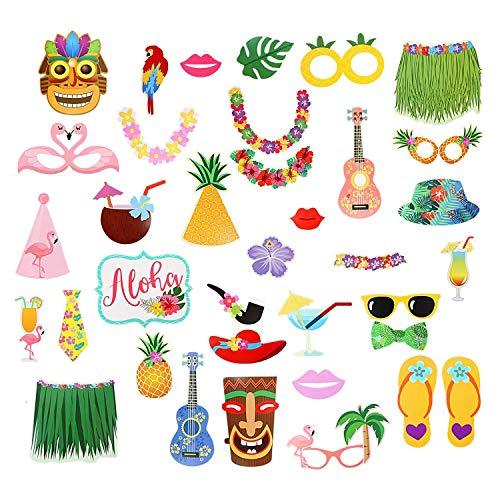Party Nice Hawaii Photo Booth Props (36 pcs) , DIY Hawaiian Themed ,Hawaiian/Tropical/Tiki/Summer Pool Party Decorations -