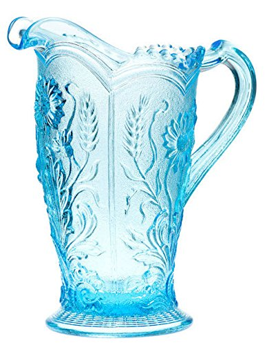 Water Pitcher Field Flower Pattern - Mosser Glass - American Made (Spring Blue)