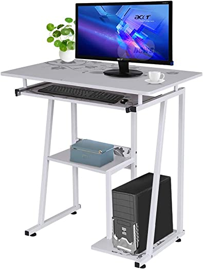 Auwish Desktop Computer Workstation Desk with Pullout Keyboard Tray Storage Shelf Compact Complete Laptop Stand Student Study Table Office Desk White