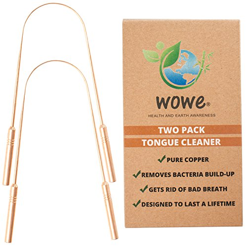 Tongue Scraper Cleaner (2 Pack) - Pure Copper Metal - Get Rid of Bacteria and Bad Breath - by WowE LifeStyle Products (Copper) Products Tongue Cleaner
