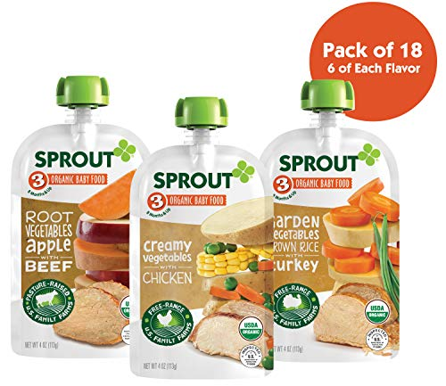 Sprout Organic Stage 3 Baby Food Pouches, Meat Variety, 4 Ounce (Pack of 18) 6 of Each: Root Veg Apple w/ Beef, Creamy Veg w/ Chicken & Garden Veg Brown Rice w/ Turkey (Best Organic Chicken Brands)