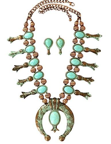 Squash Blossom Necklace - Blazin Roxx Women's Copper Starburst Concho Jewelry Set, Copper, Turquoise, OS