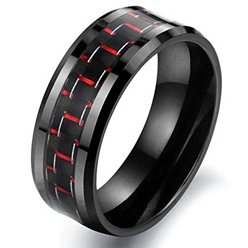 LAMUCH Women's 8MM Wide Red Tungsten Steel Fiber Ring Size7.5 by LAMUCH
