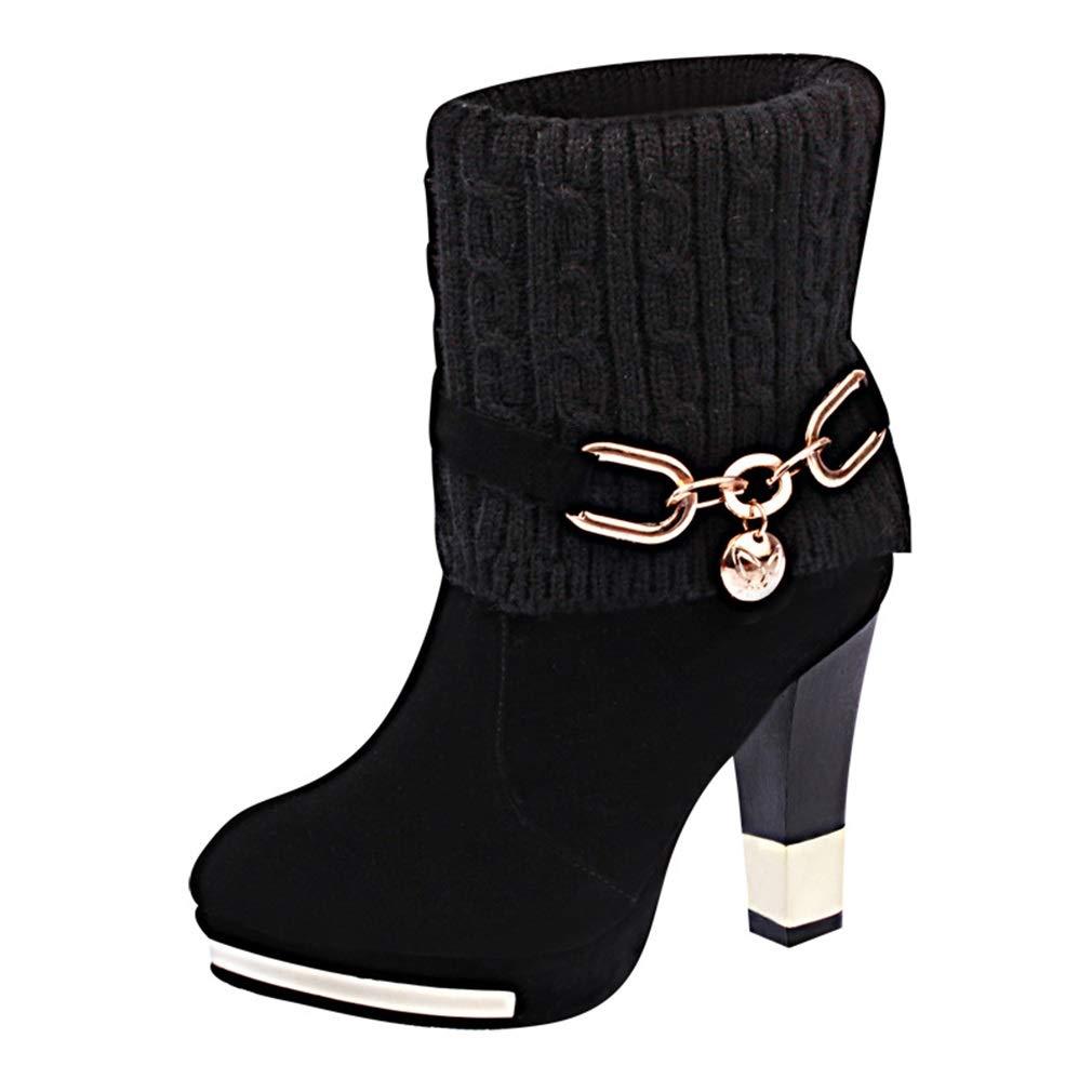 YAN Damenschuhe Wildleder Winter grobe High Heels Mode High Heels Martin Stiefel Hochzeit Party & Abendkleid Schuhe rot schwarz
