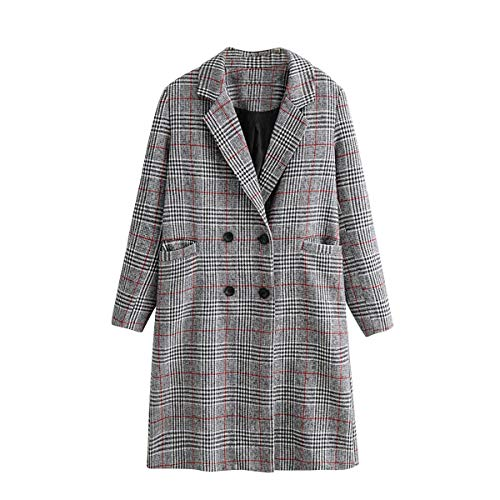 y larga ZFFde Color Grey M con manga cuadros de solapa tamaño Abrigo bolsillos largo botonadura Invierno doble con a 88r4a