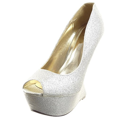 Sopily - damen Mode Schuhe Pumpe Plateauschuhe glänzende - Grau