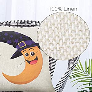 Vented Halloween 100% Linen Hug Pillowcase Moon Pumpkin Devil Cartoon Anime Square Home Decoration Cushion Cover Pillowcase 17.7x17.7inch(45x45cm) (4 pcs)