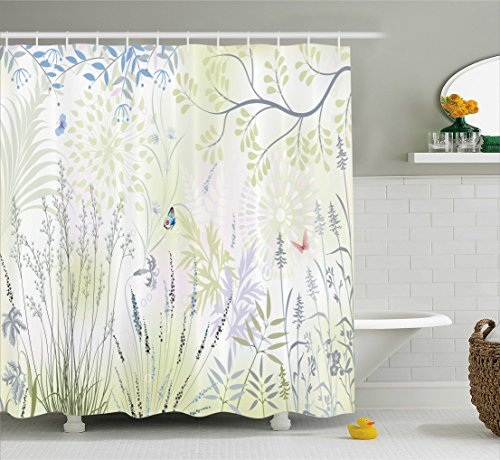 Ambesonne Nature Shower Curtain by, Wild Herbs and Butterfly Fern Curved Branch Mother Earth Foliage Graphic, Fabric Bathroom Decor Set with Hooks, 75 Inches Long, Pale Green Violet ()