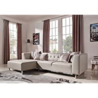 Limari Home Gabby Collection Modern Leatherette and Fabric Upholstered Living Room Sectional Sofa, White