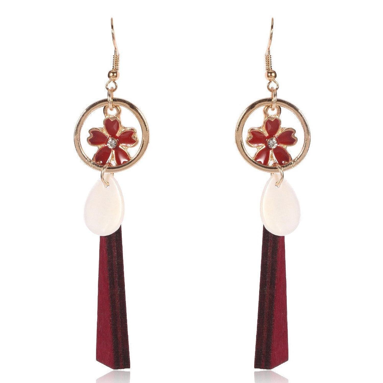 6179d9c842f9 Caliente de la venta Dana Carrie Las hojas forma pendientes de madera  elegantes orejas rojo