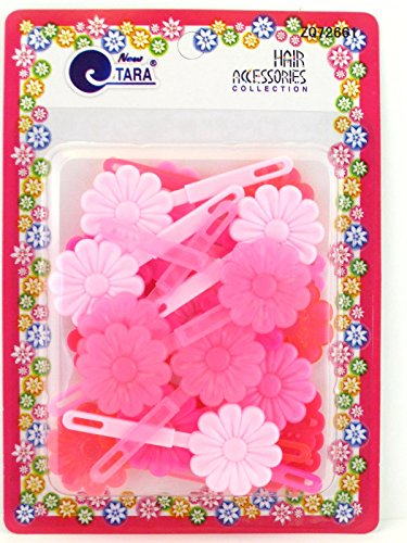 - Tara Girls Self Hinge Flower Barrettes - Shades Of Pink - 18 Pcs.