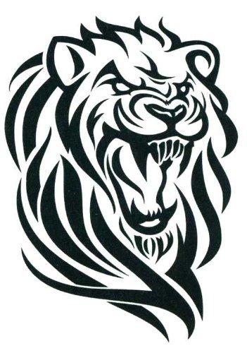 """Noir Tribal Lion Head Body Art Tatouages temporaires 2.5 """"x 3.5"""""""