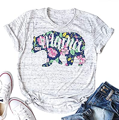 Mama Bear Shirt Funny Cute Loose Print Graphic Mom Mother's Day Day Tee Women Tops