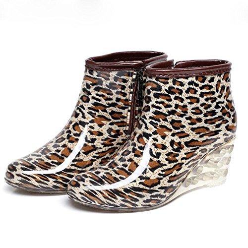 cortas botas 1 mujer Y lluvia de con Zapatos lluvia de botas agua Botas para pendiente de amp;JAXIE alto lluvia para de tacón plana qXBq7xOrw
