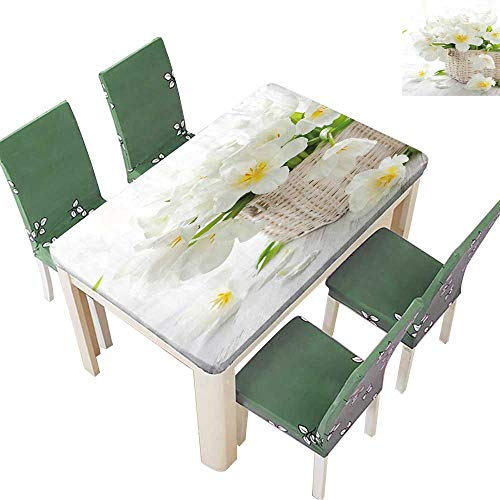 - Printsonne Solid Tablecloth White Tulips in a Basket on The Wooden Table Table Cover 52 x 108 Inch (Elastic Edge)