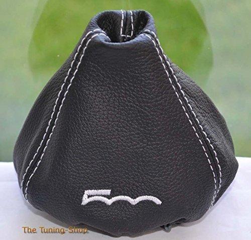 """Schaltsack, manuell, schwarzes Leder mit weißer Stickerei """"500"""" The Tuning-Shop Ltd"""