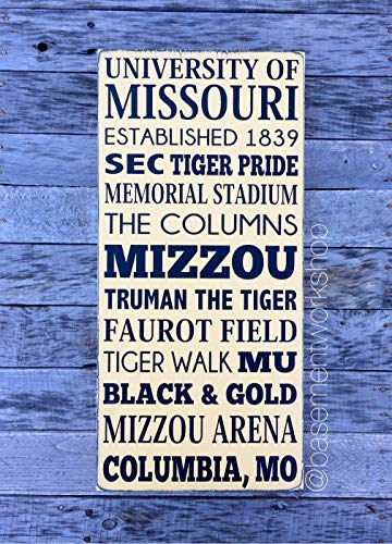 PotteLove Mizzou Hand Wood Sign University of Missouri Tigers Decor Subway Style Sports Sign Customizable
