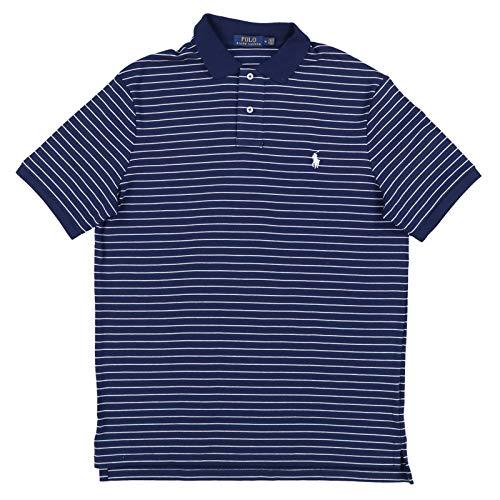 (Polo Ralph Lauren Mens Striped Interlock Polo Shirt (L, Navy))