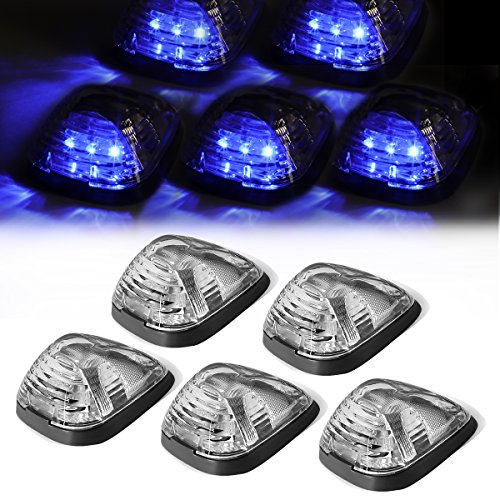 For Ford Superduty 5 X LED Cab Roof Top Lights + Wiring (Chrome Housing Blue LED) (Complete Wiring Set Truck)