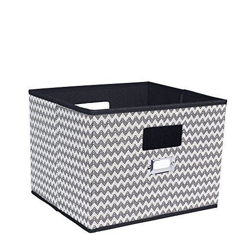 Household Essentials 651 Fabric Open Storage Bin with Cutout Handles and Label Holder, Black and White Chevron ()
