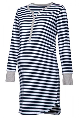 Happy Mama Womens Maternity Hospital Nightdress Nursing Nightie Stripes. 589p (Navy, US 8/10, (Nursing Womens Nightgown)