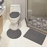 Geometric toilet floor mat set Floral Style Trellis Pattern Arabian Cultural Inspiration Curvy Motifs Printed Rug Set Charcoal Grey White