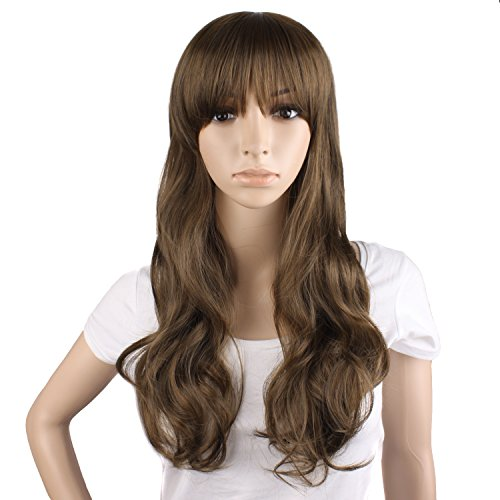 MapofBeauty 50cm/20 Inch Long Curly Side Bangs Natural Beauty Wig (Brown)