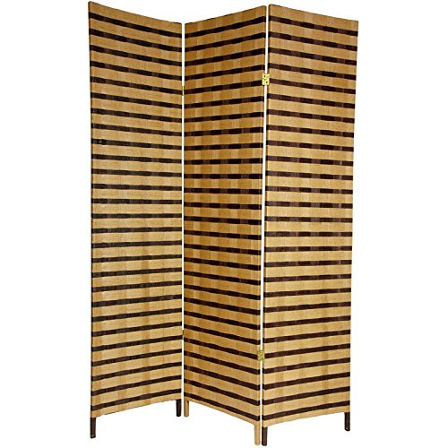 Oriental Furniture 6 ft. Tall Two Tone Natural Fiber Room Divider - 3 Panel - Accordian Style Table