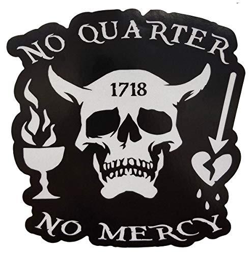 "Firehouse Graphics 3M Reflective Blackbeard No Quarter 1718 Pirate Skull Crossbones Swords Nautical Vinyl Sticker Decal (5"")"