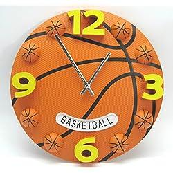 12 Inch creative basketball wall clock boys bedroom wall watch plastic modern mute sport clock