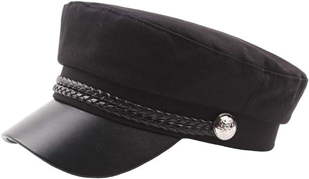 Dressin_Hat - Gorra de Piel para Mujer, con Botones sólidos, Color ...