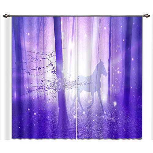 LB Teen Kids Room Darkening Blackout Window Curtains,A Dream Horse Fancy Fairy Tale 3D Window Treatment Curtains Living Room Bedroom Window Drapes 2 Panels Set,28 x 65 inch Length - Fairy Tale Window
