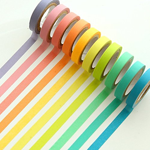 UClever Decorative Washi Tape Rainbow Set 10 Rolls
