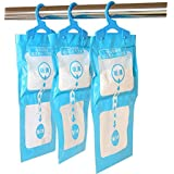 Qike Hanging Moisture Absorber Kitchen Bathroom Desiccant Hygroscopic Anti-mold Deodorizing Moistureproof Desiccant Bag Lavender , 5-Pack