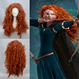 "New MERIDA BRAVE Movie Disguise 24"" Long Orange Curl Hair Cosplay Wig Free Shipping"