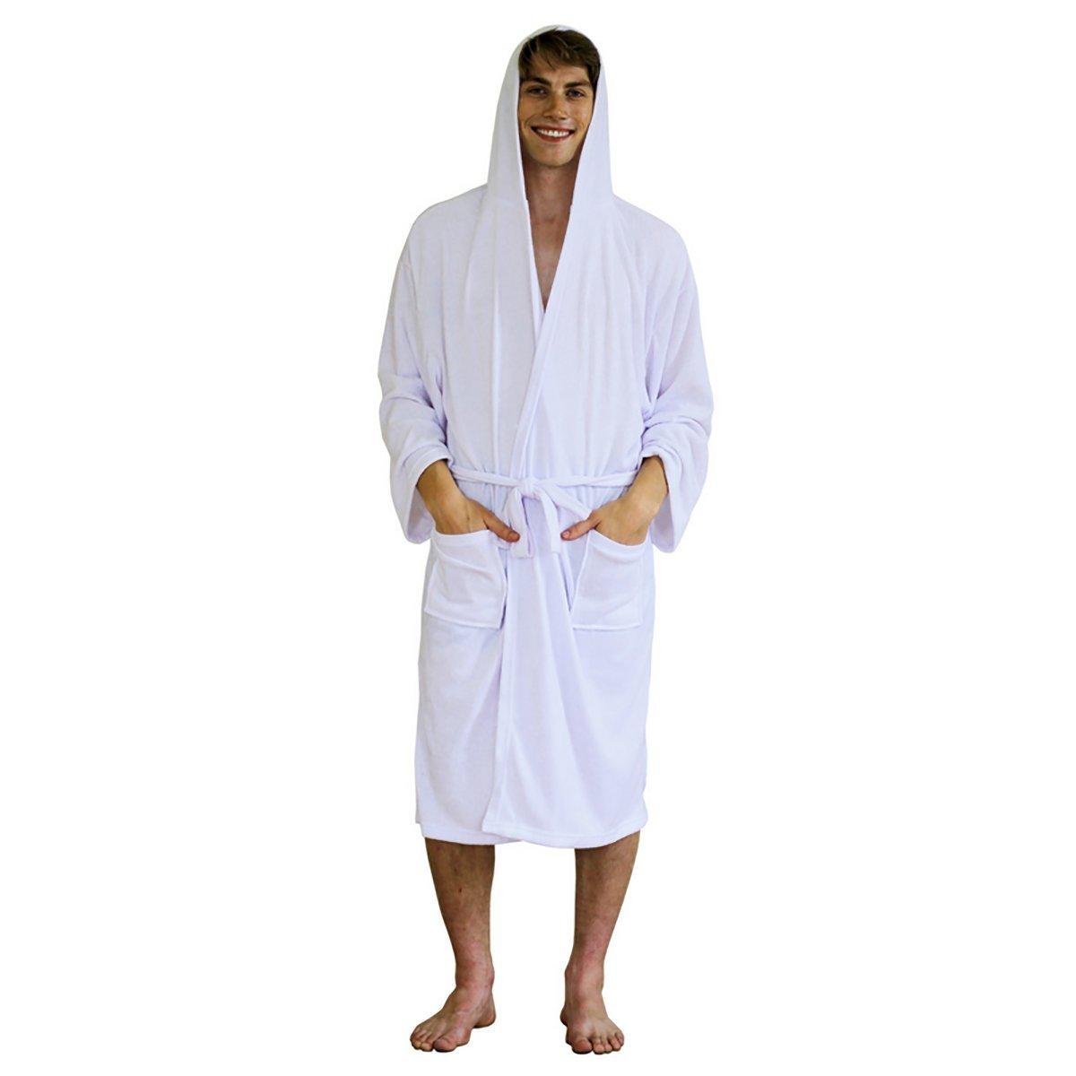 Mens Robe – Hooded Terry Cloth Bath Robe, Lightweight Cotton Shower ...
