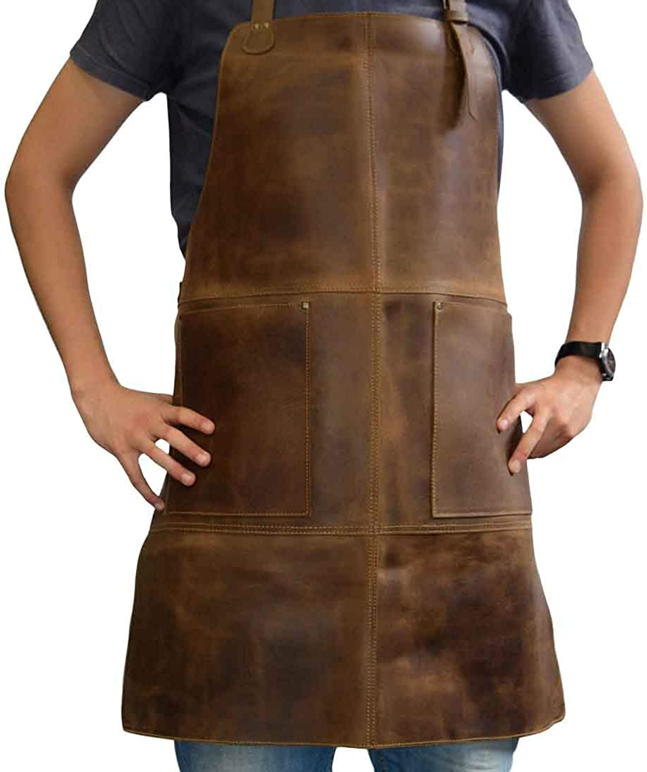 Men's Vintage Workwear – 1920s, 1930s, 1940s, 1950s Hide & Drink Durable Leather Apron Utility Tool Pockets Adjustable Chef Butcher Metalworker Carpenter Blacksmith Heavy Duty Wear Handmade :: Bourbon Brown $78.00 AT vintagedancer.com