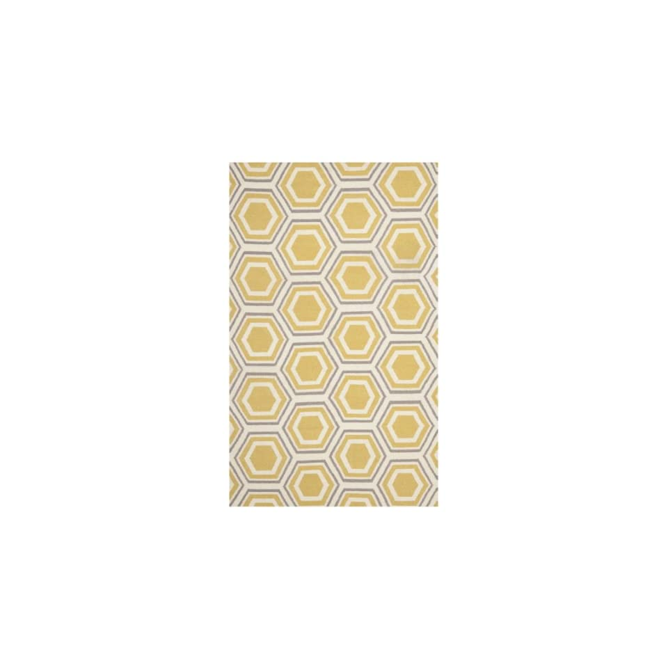 Safavieh Dhurries Collection DHU202A Hand Woven Ivory and Yellow Premium Wool Area Rug (5 x 8)