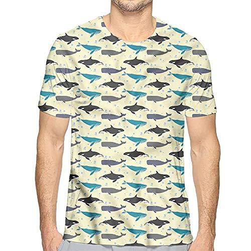 (Jinguizi t Shirt Whale,Swimming Mammals Yellow Printed t Shirt XL)